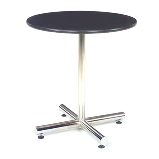 36″ Round Cafe Table - Black with Chrome Base